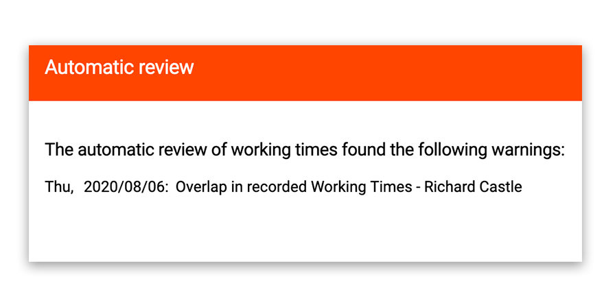 Automatic review of overlaps in working time