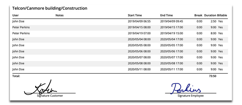 new signature lines on project time reports