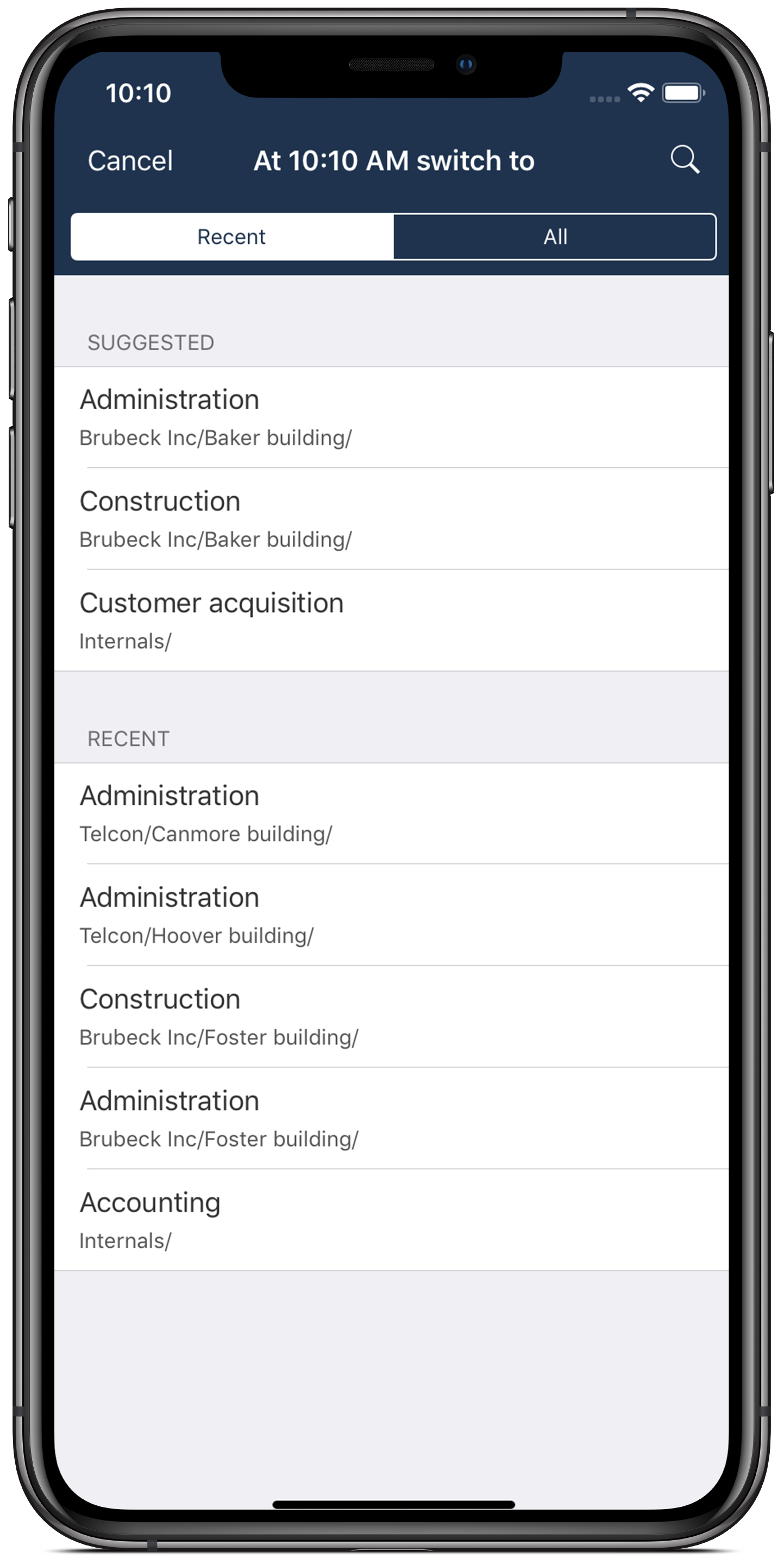 timr iOS app - switch task to recent