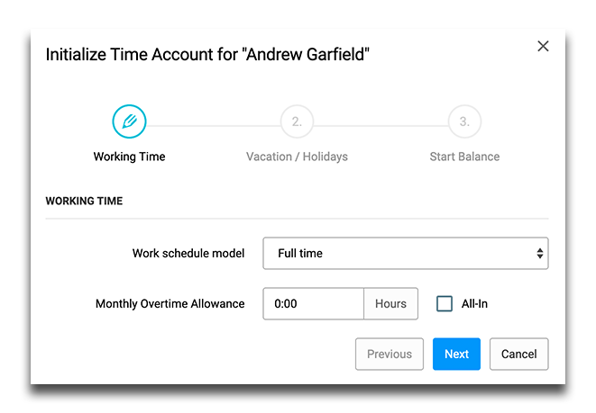 New time account initialization