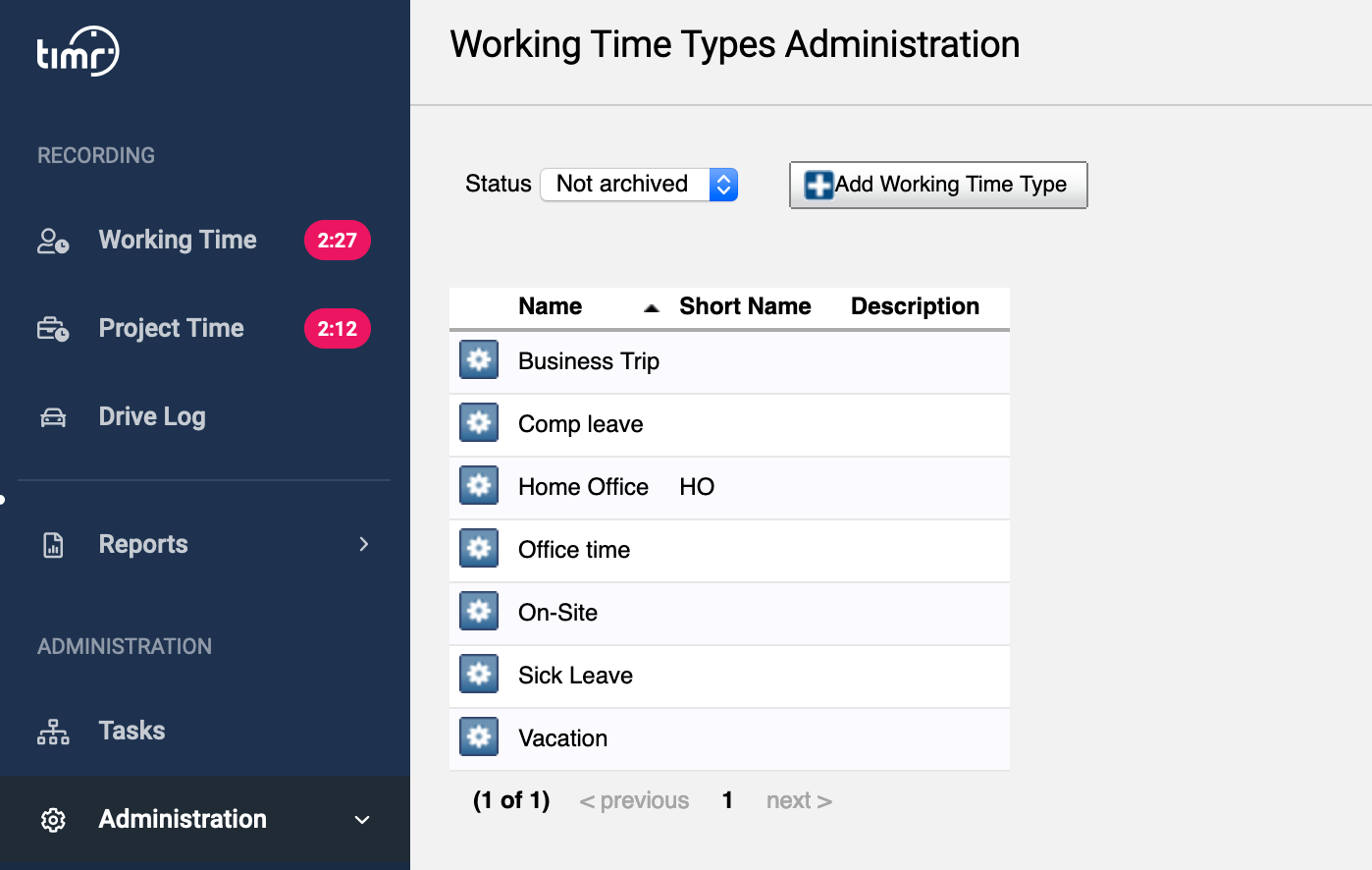 timr administration working time types