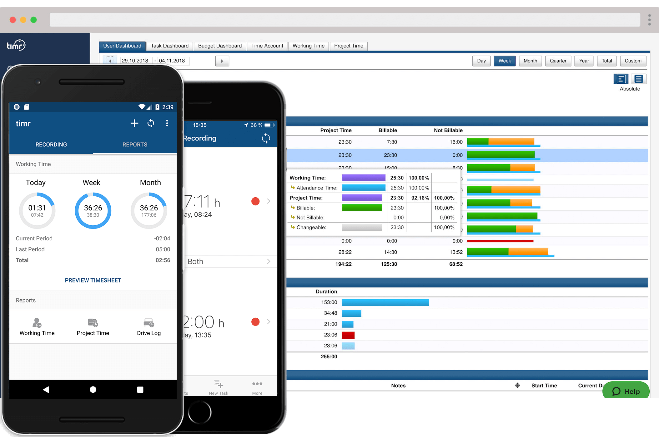 timr mobile time tracking apps and web dashboard