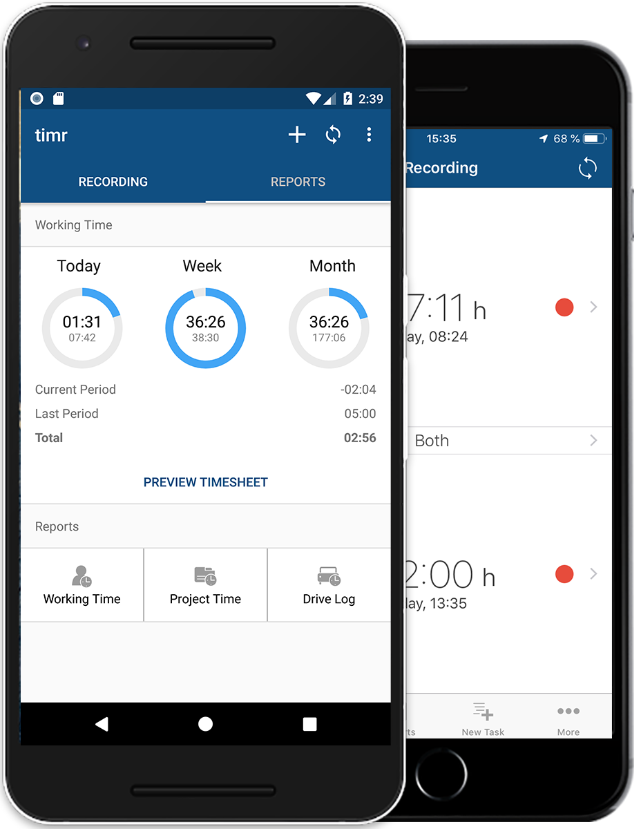 timr mobile working time tracking app