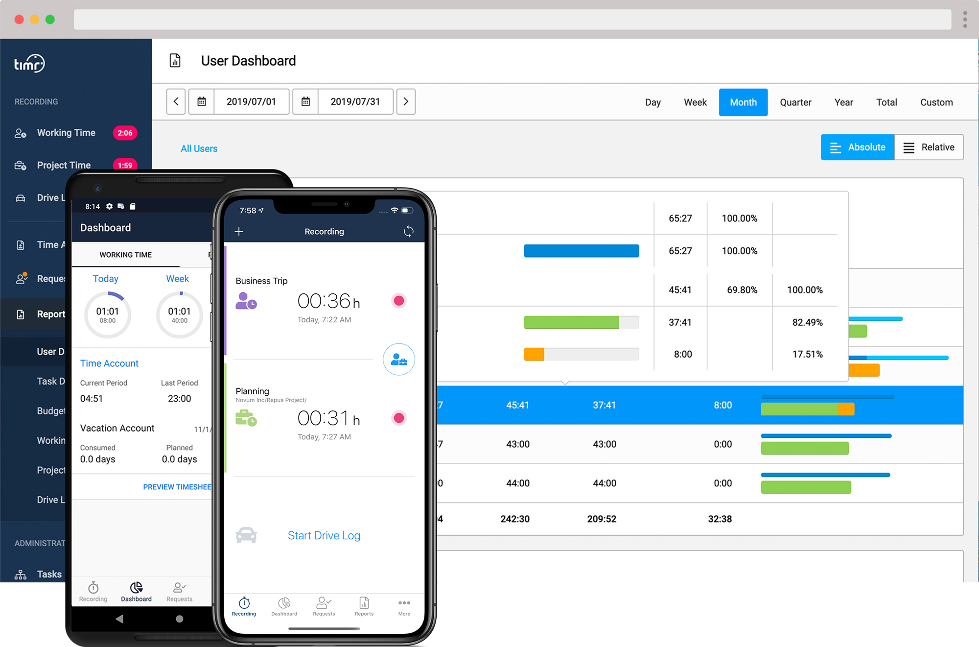 timr web and apps time tracking