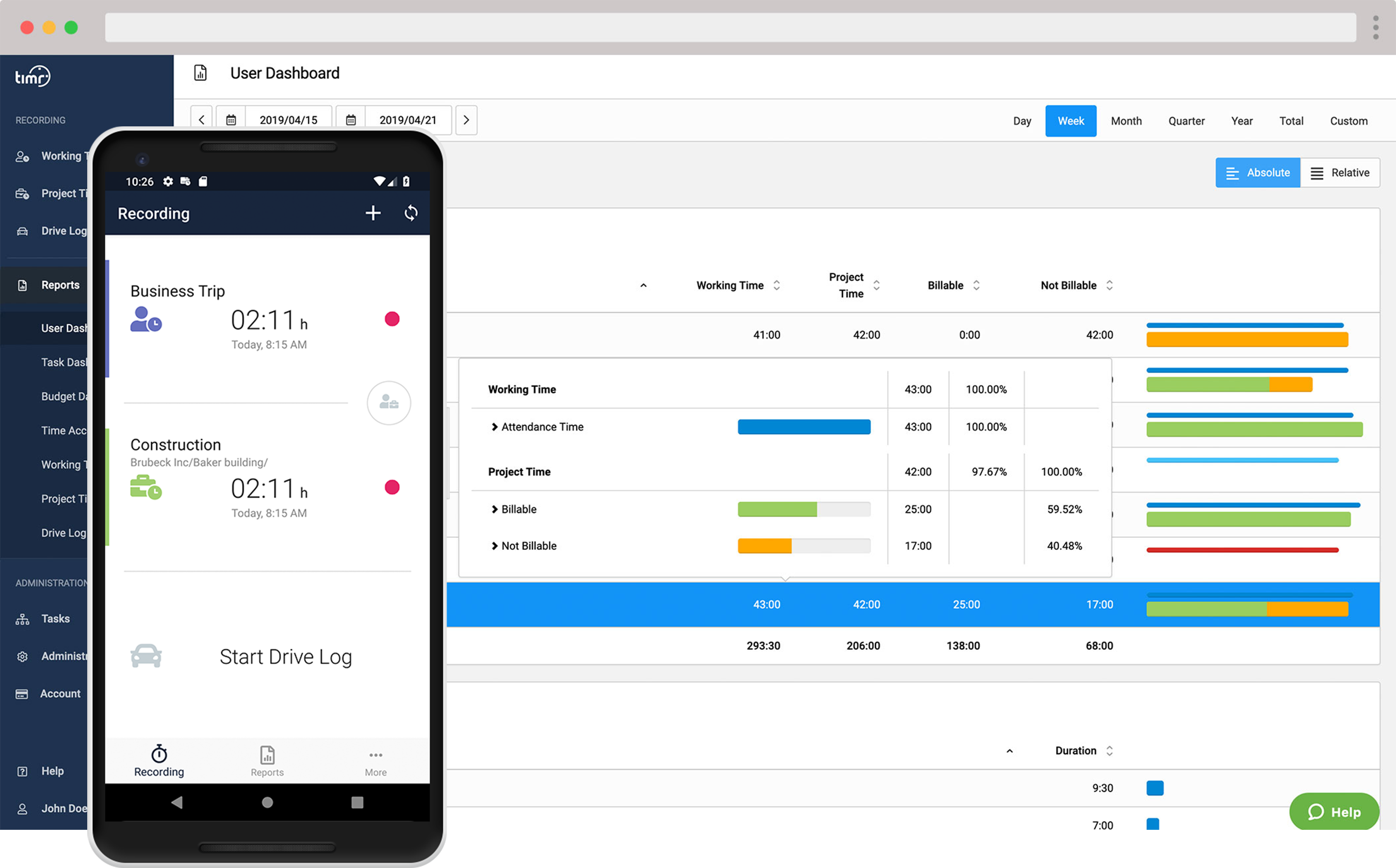 timr mobile time tracking Android app and web dashboard