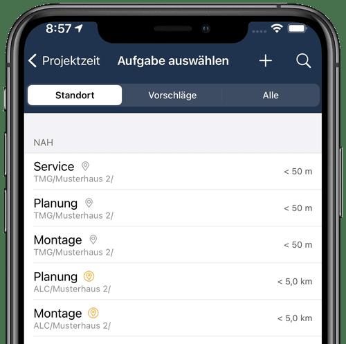 Ortsbasierte Aufgabenauswahl in der App
