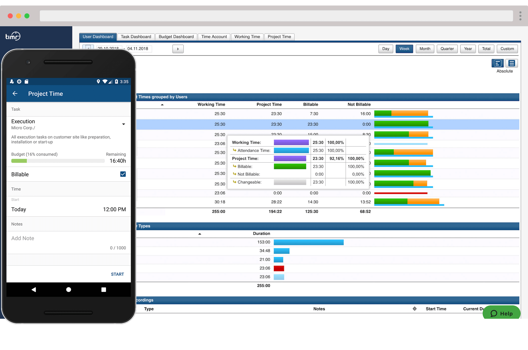 timr apps and web project time tracking
