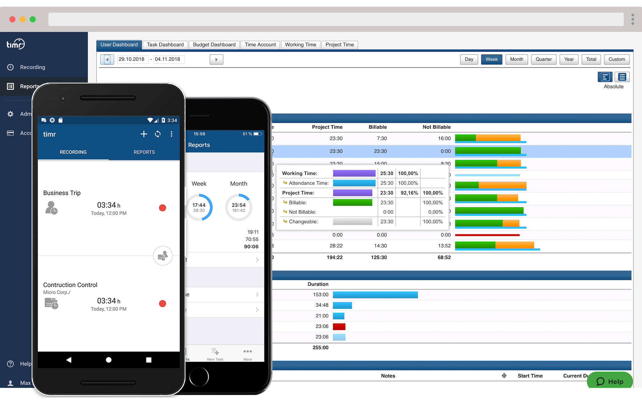 timr apps and web employee time tracking