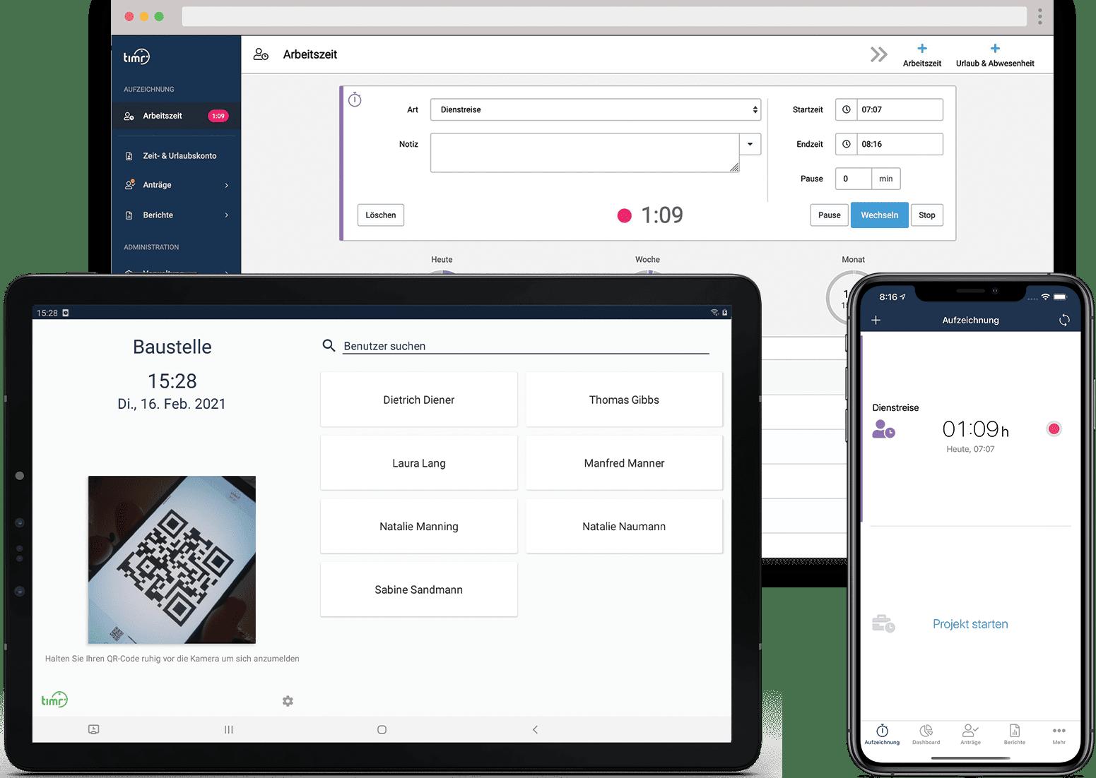 Digitale Stempeluhr per Web, App und Terminal