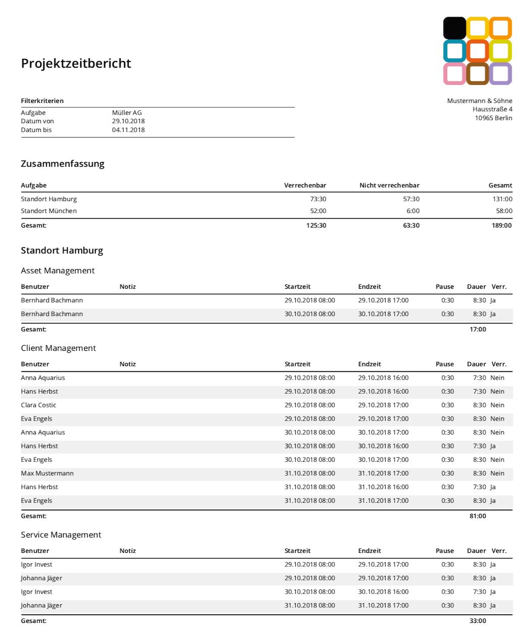 timr Projektzeitbericht