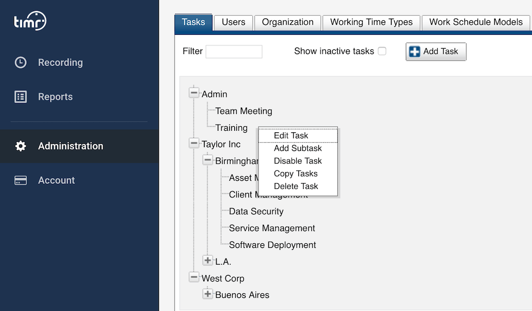 timr project time tracking task admin