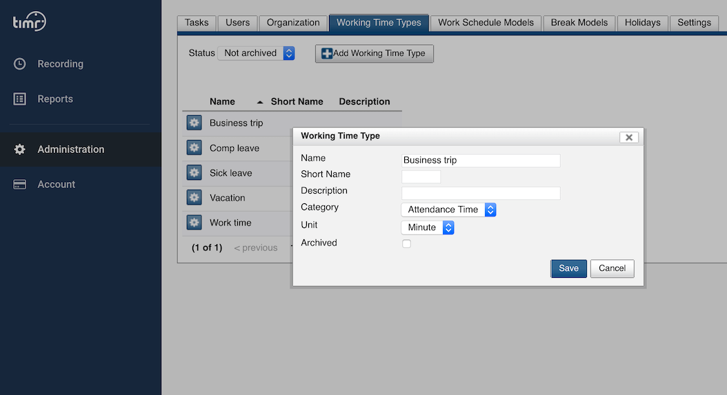 timr time tracking working time type