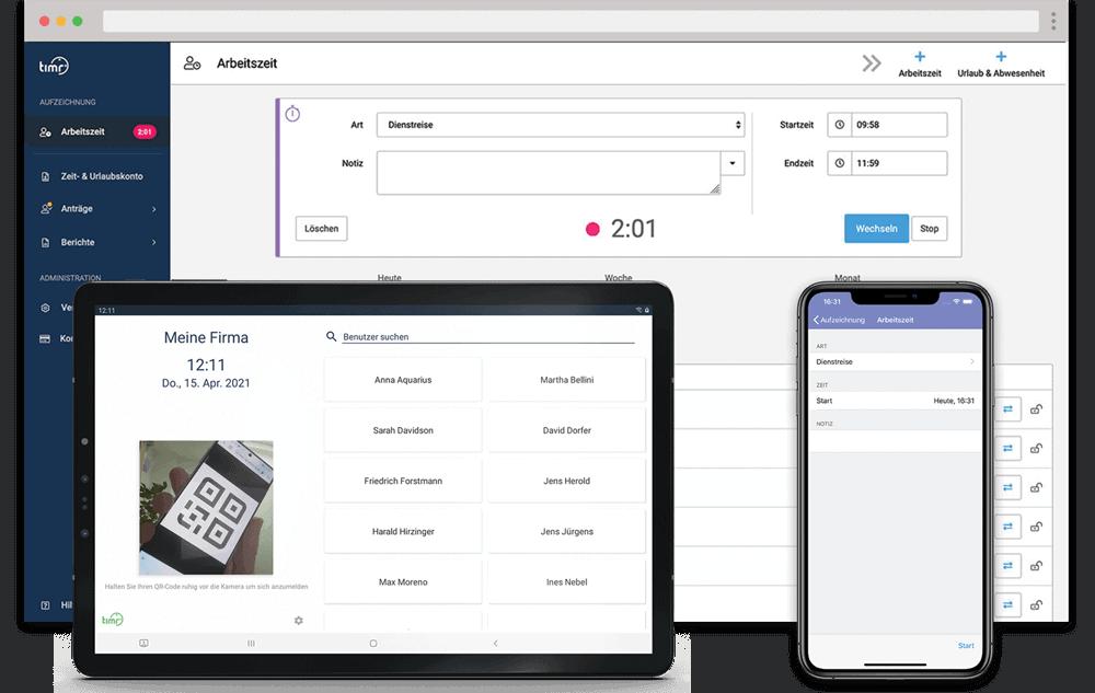 timr Arbeitszeiterfassung Web App Terminal