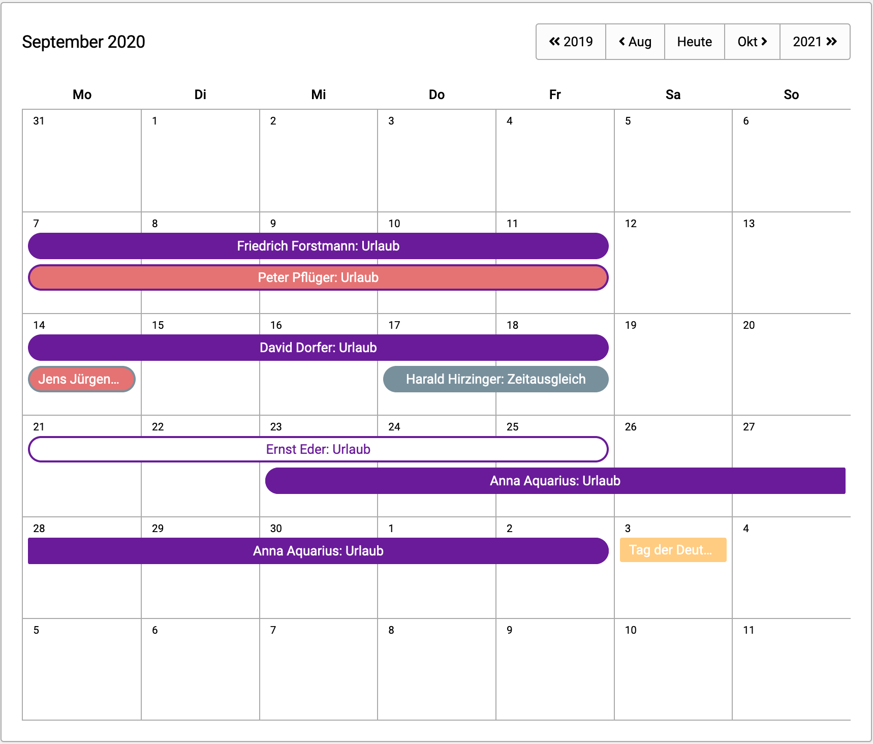 Kalenderansicht Urlaube und Abwesenheiten
