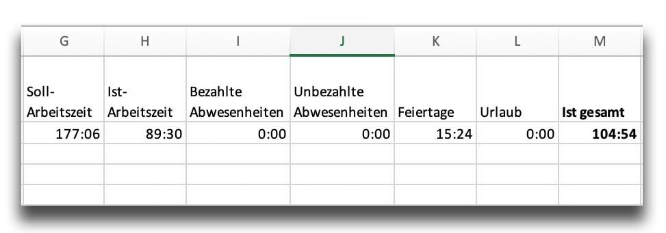 Zeitkonto Excel Export neu